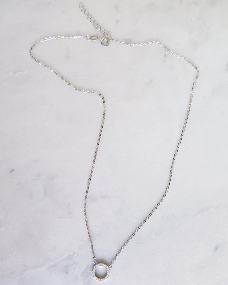 CZ CIRCLE NECKLACE- Sterling Silver