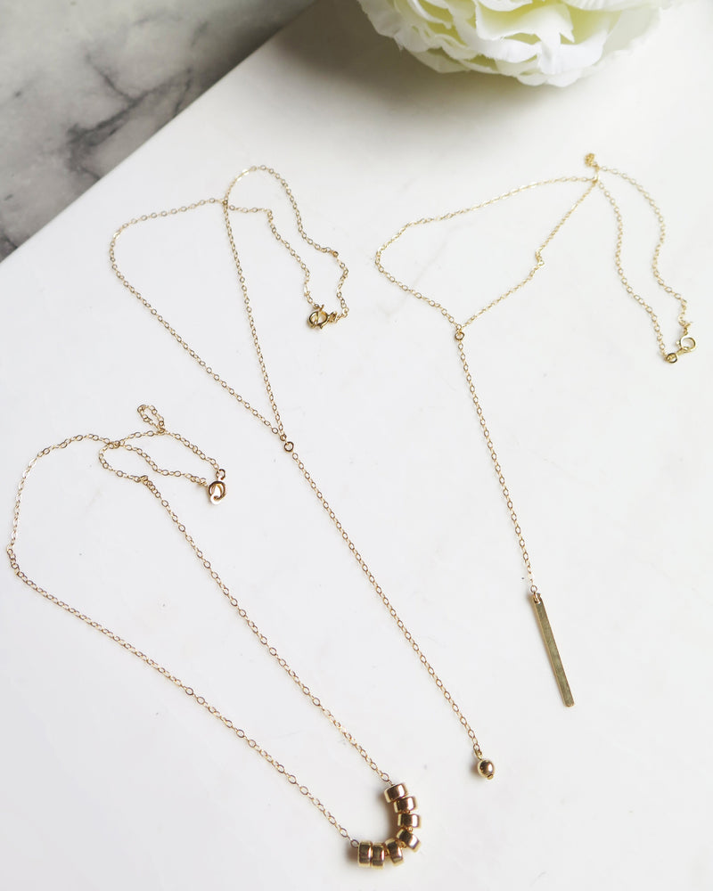 BAR DROP NECKLACE- 14k Yellow Gold