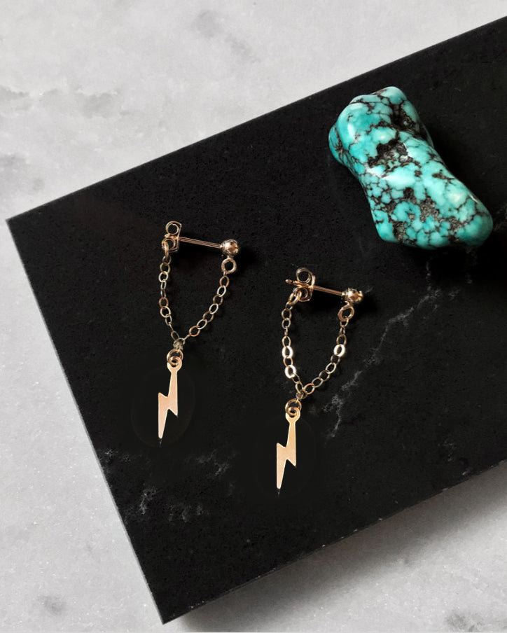 LIGHTNING BOLT CHAIN STUD EARRINGS- 14k Yellow Gold