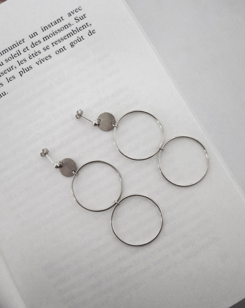 LARGE DOUBLE CIRCLE EARRINGS- Sterling Silver