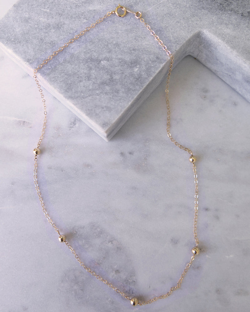 FIVE BEAD NECKLACE- 14k Gold