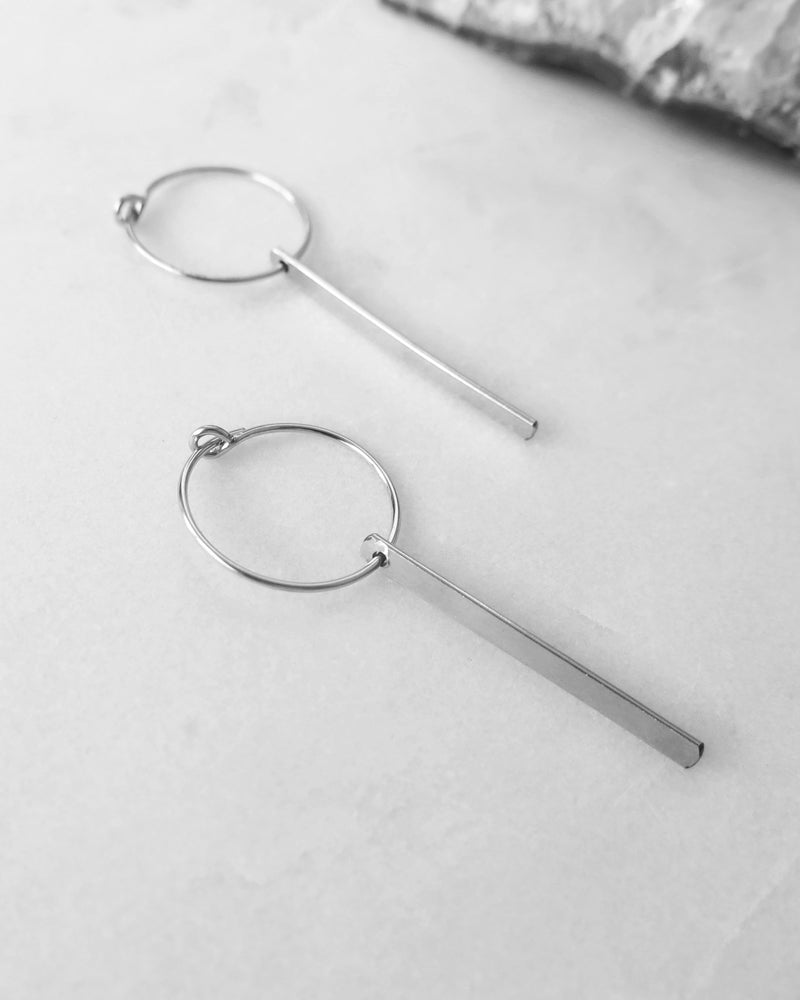 BAR HOOP EARRINGS- Sterling Silver