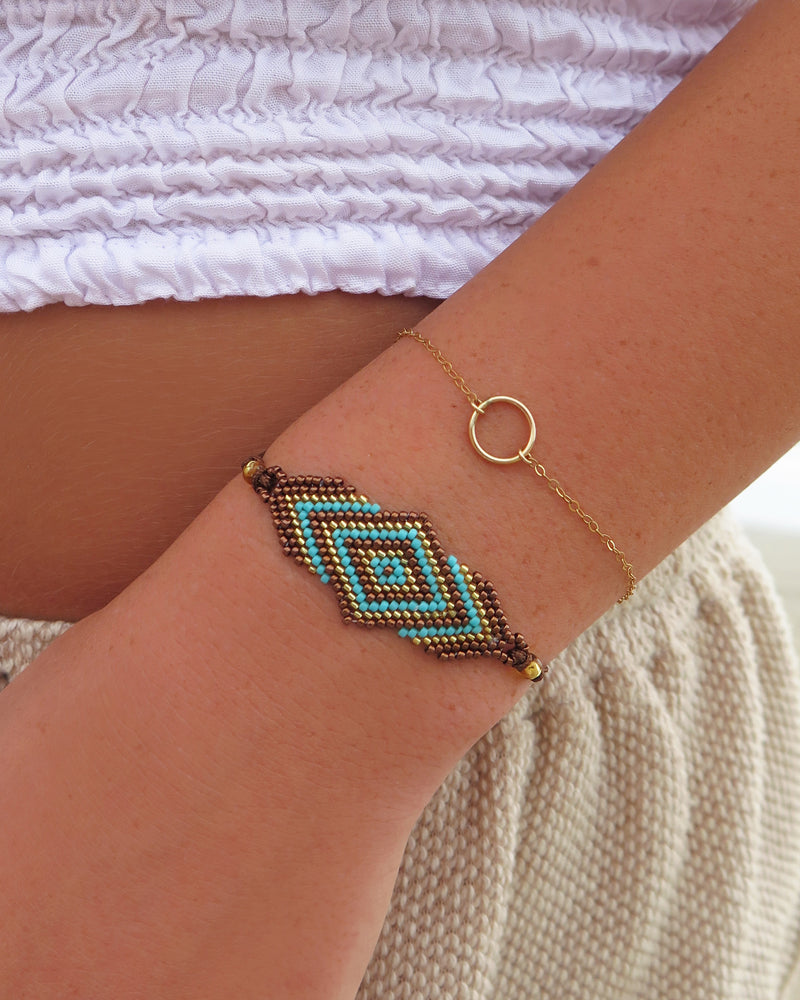 ISA BEADED BRACELET- Brown