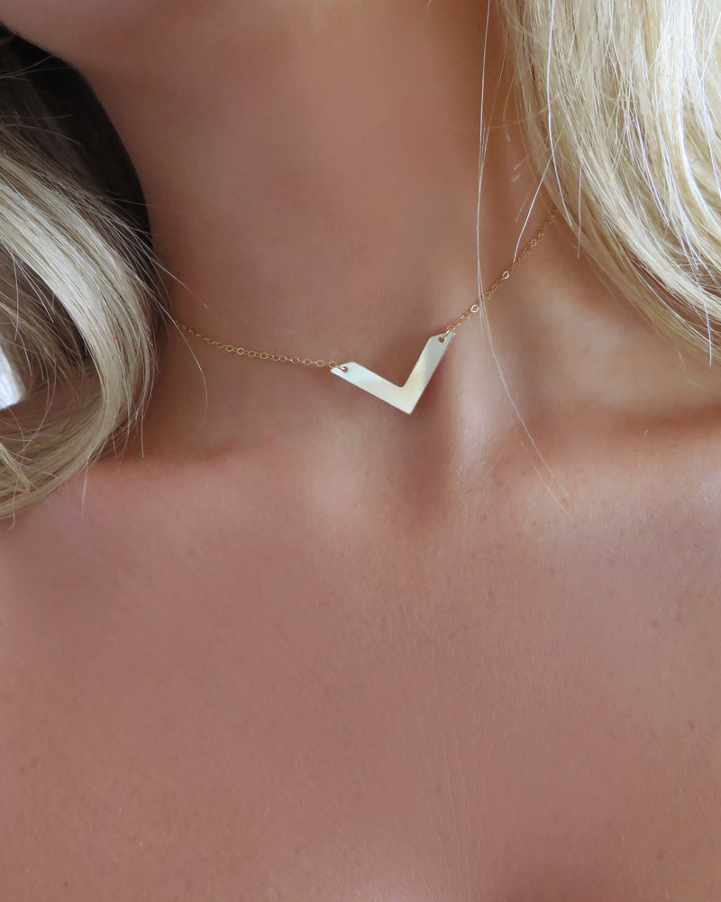 CHEVRON NECKLACE- 14k Yellow Gold