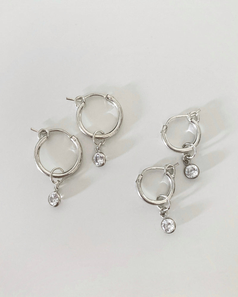 THICK CZ HOOP EARRINGS- Sterling Silver
