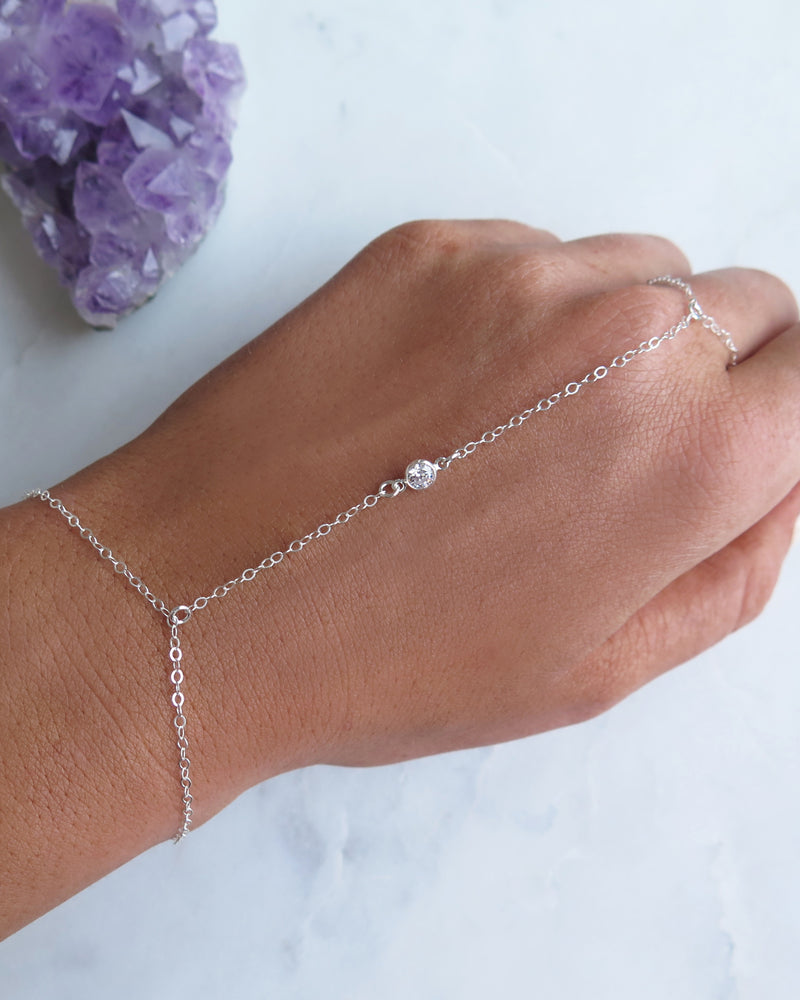 CZ HAND-CHAIN- Sterling Silver