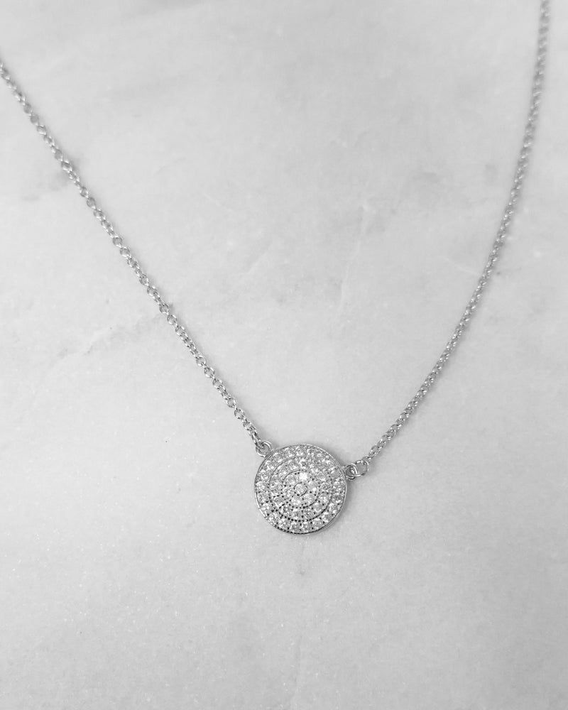 CZ COIN NECKLACE- Sterling Silver