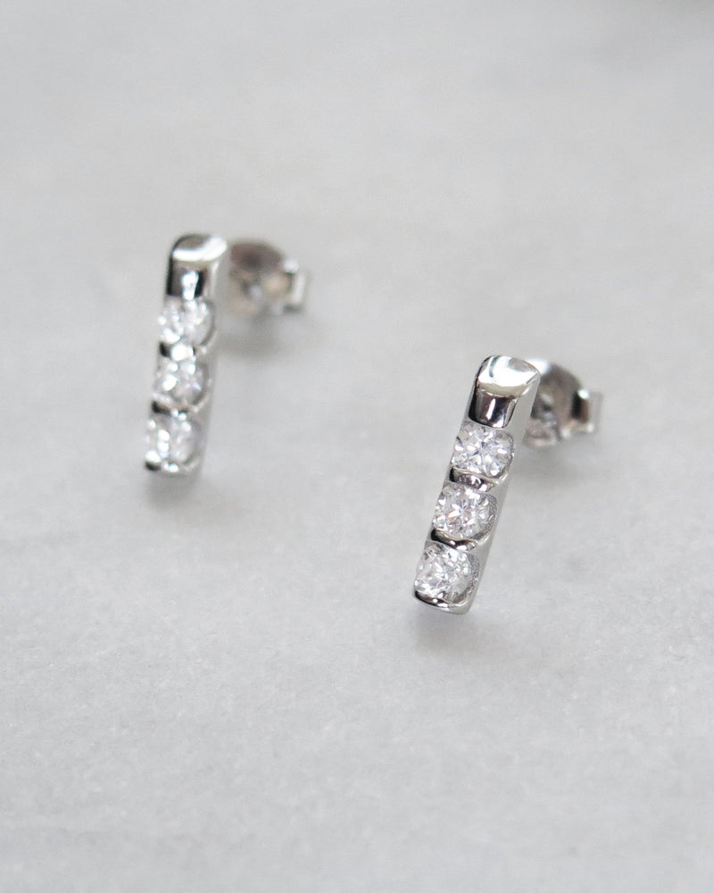 TRIPLE CZ LINE EARRINGS- Sterling Silver