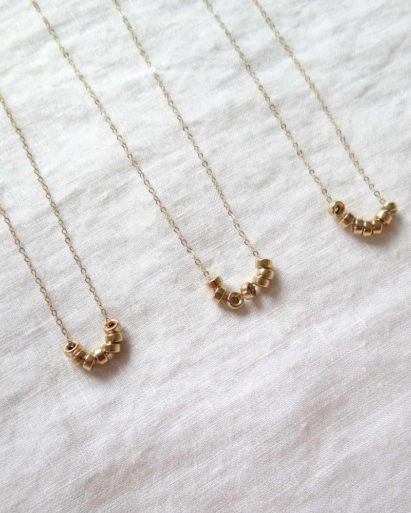 SEVEN RING NECKLACE- 14k Yellow Gold