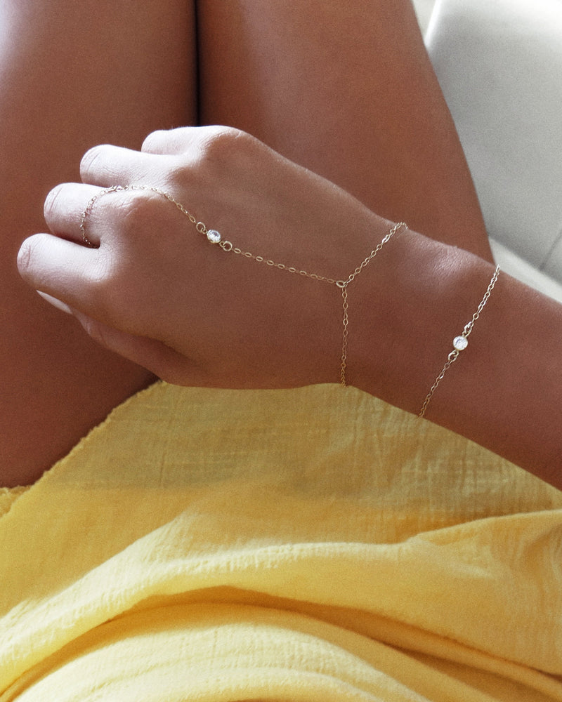 CZ HAND-CHAIN- 14k Yellow Gold