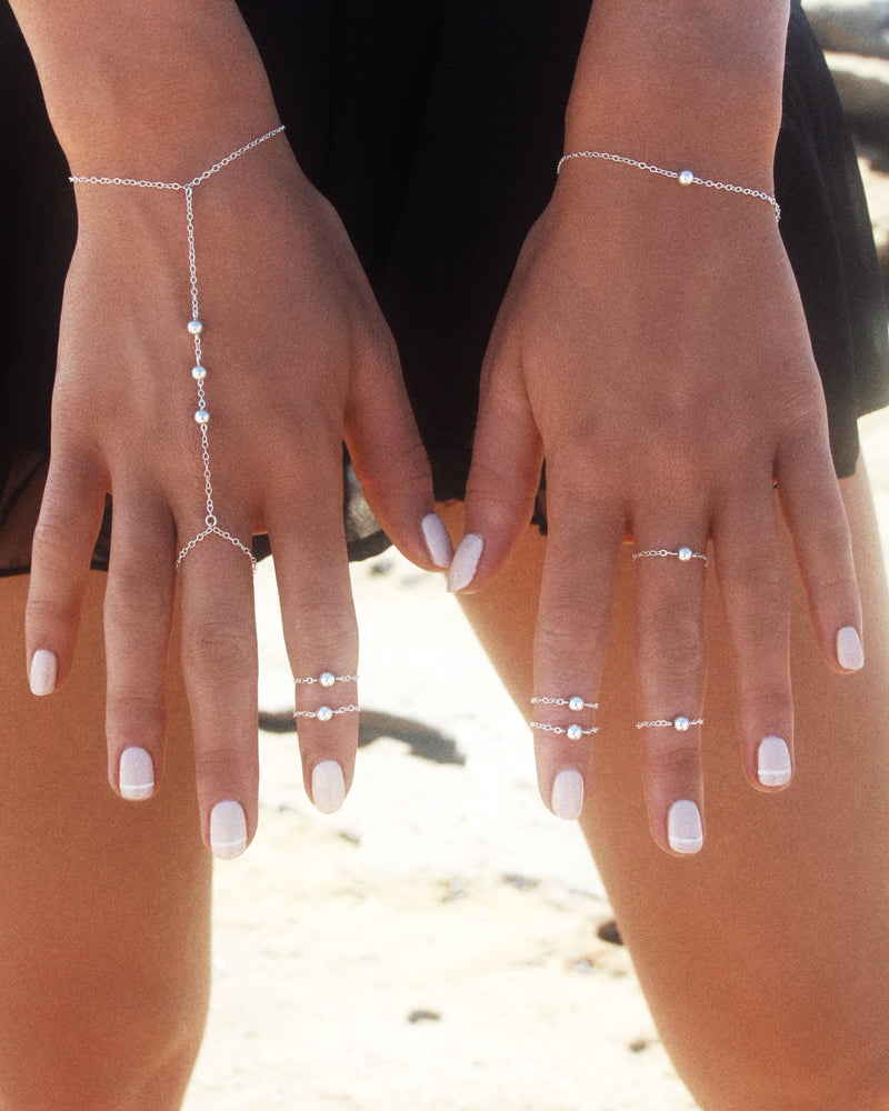 TRIPLE BEAD HAND-CHAIN- Sterling Silver