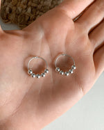 BEADED HOOP EARRINGS- Sterling Silver