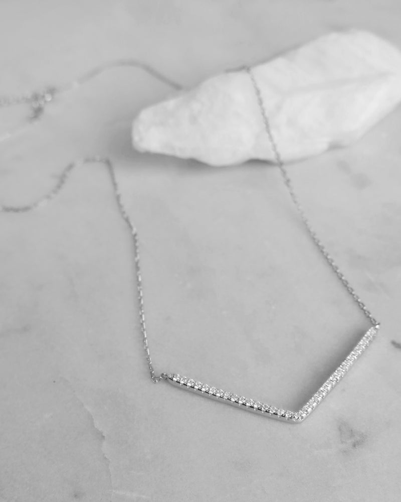 CZ CHEVRON NECKLACE- Sterling Silver