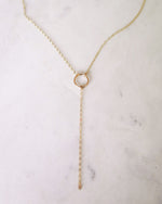 CIRCLE DROP NECKLACE- 14k Yellow Gold