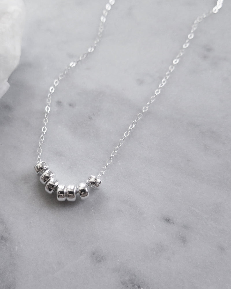 SEVEN RING NECKLACE- Sterling Silver