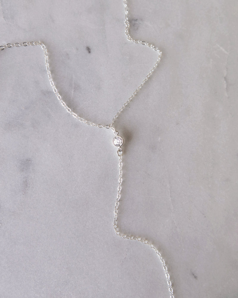 CZ DROP NECKLACE- Sterling Silver