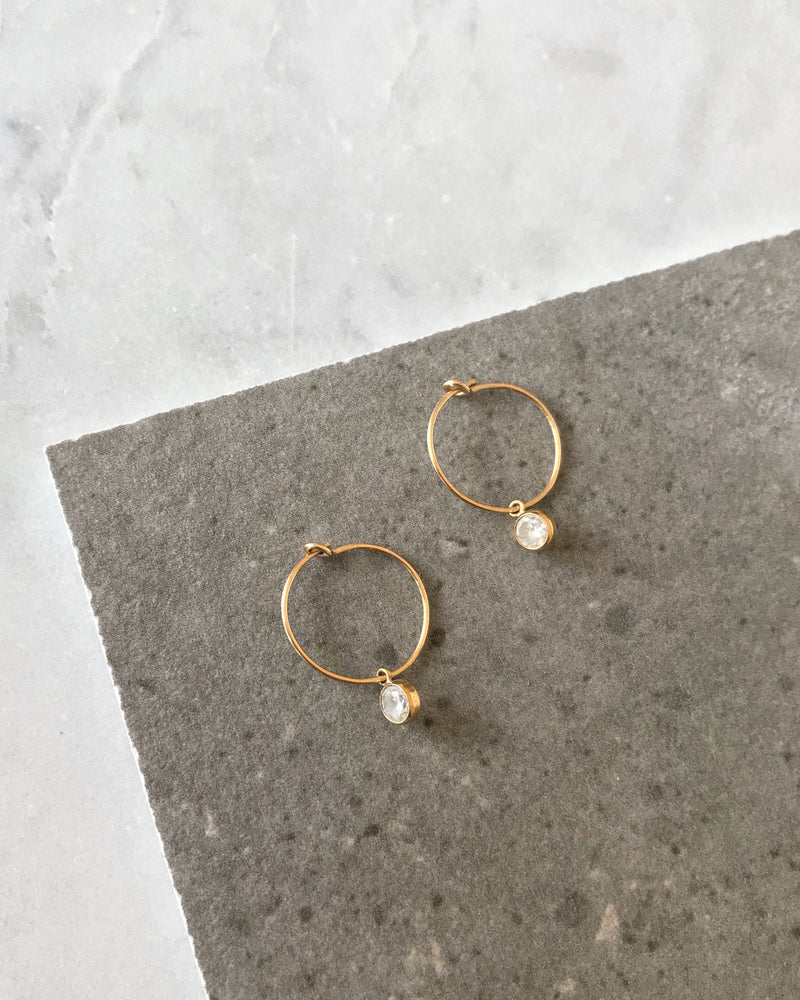 CZ HOOP EARRINGS- 14k Yellow Gold/Clear
