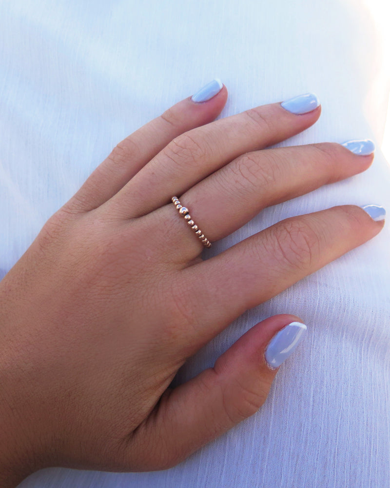 BEADED RING- 14k Rose Gold