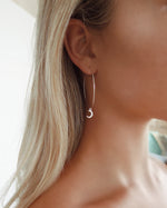 LARGE MOON HOOP EARRINGS- Sterling Silver