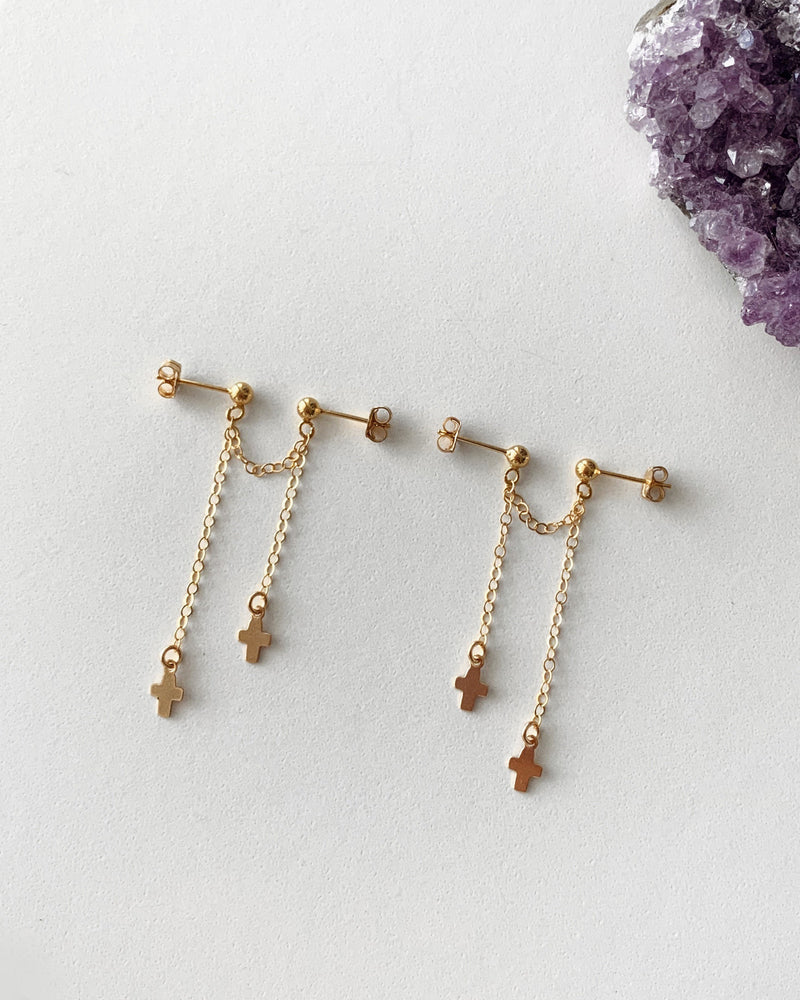 DOUBLE PIERCING CROSS EARRINGS- 14k Yellow Gold