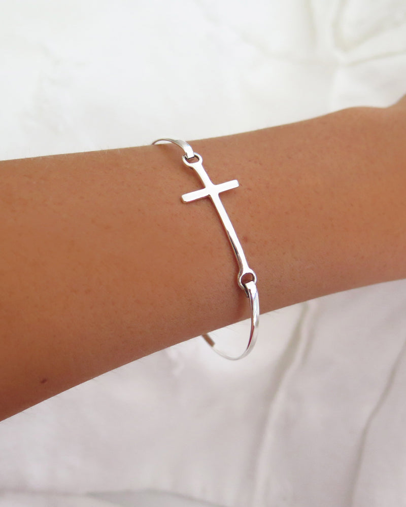 CROSS BANGLE- Sterling Silver