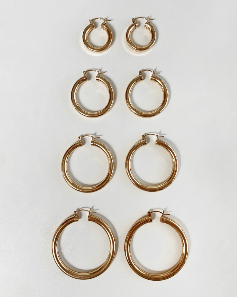 CHICAGO HOOP EARRINGS- 14k Yellow Gold