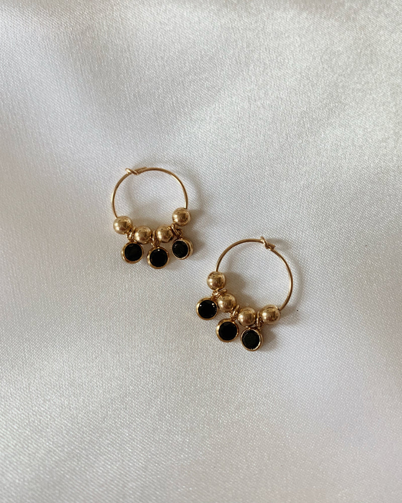 PRE-ORDER: TRIPLE BLACK CZ HOOP EARRINGS- 14k Yellow Gold