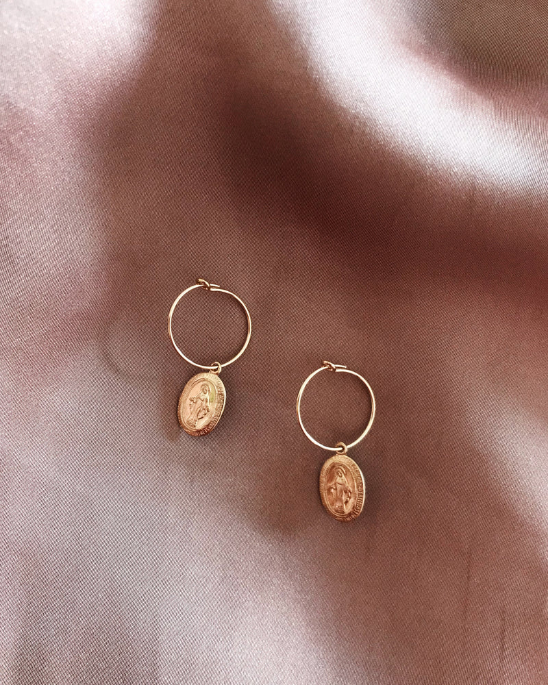 MIRACULOUS MEDAL EARRINGS- 14k Yellow Gold
