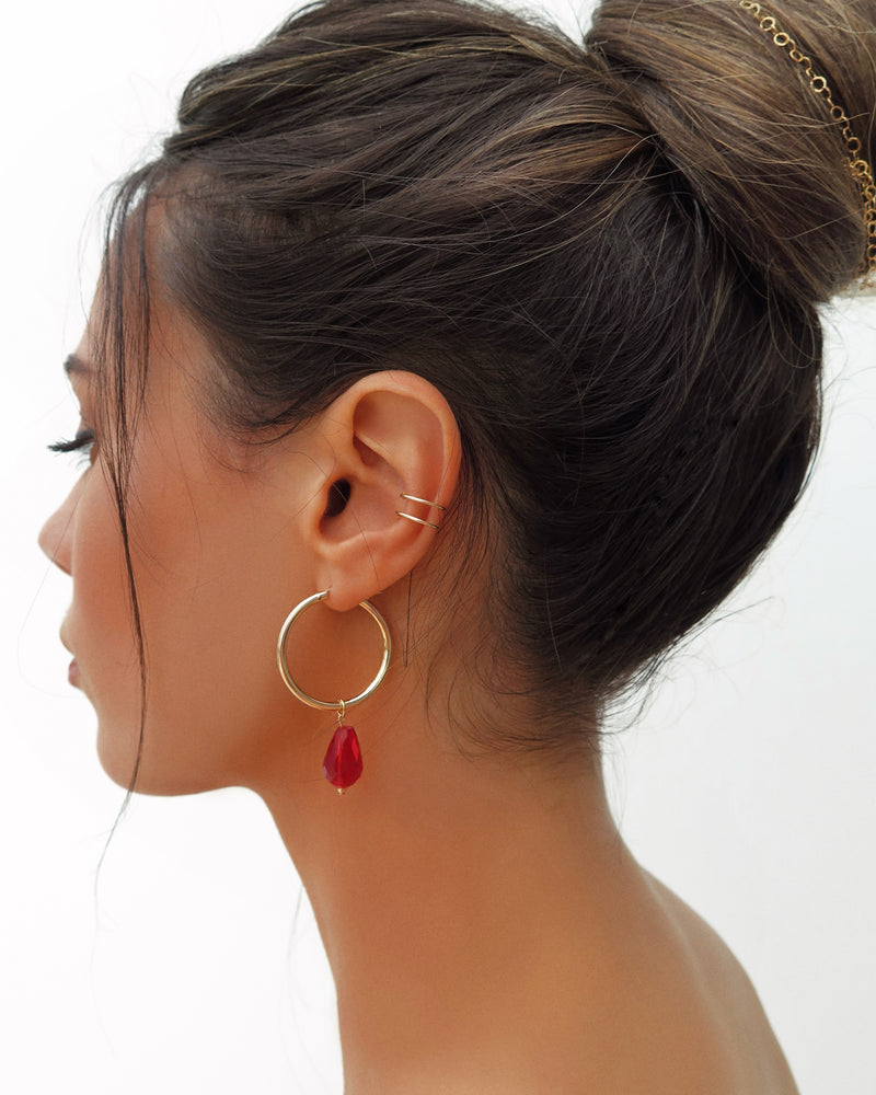 LARGE RED TEARDROP EARRINGS- 14k Yellow Gold