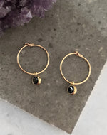 CZ HOOP EARRINGS- 14k Yellow Gold/Black