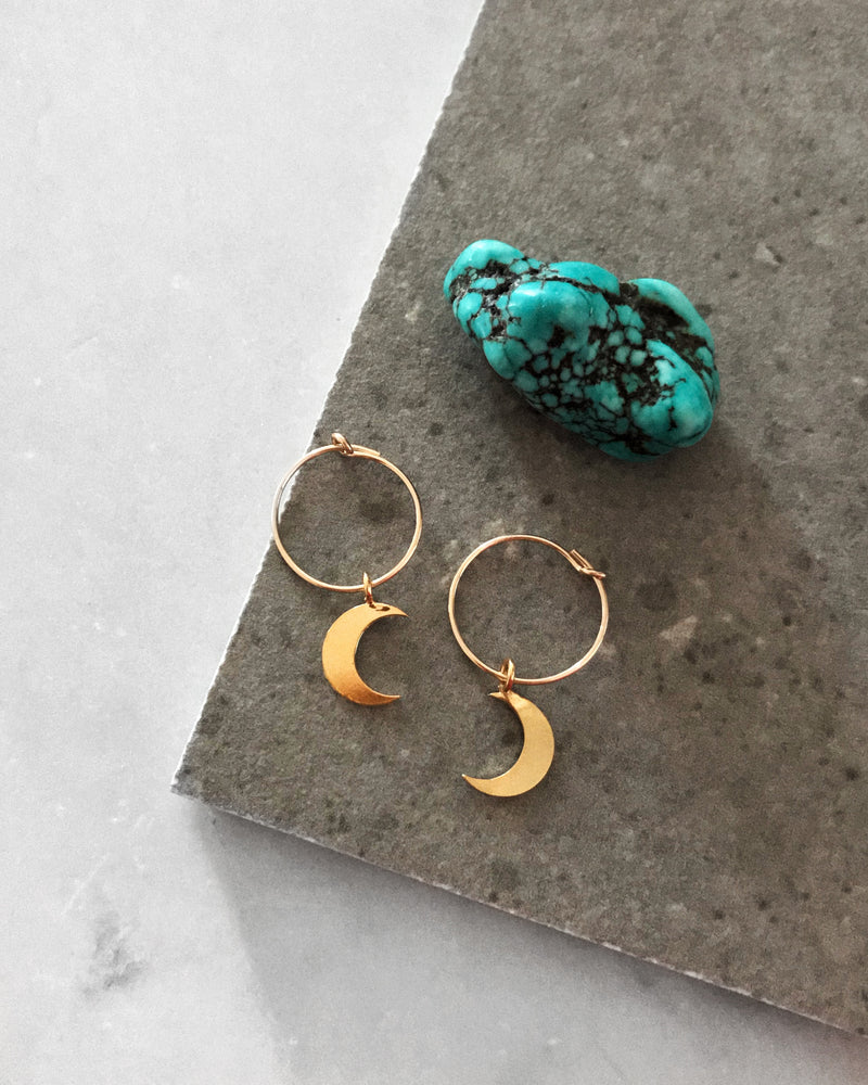 MOON HOOP EARRINGS- 14k Yellow Gold