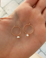 FRESHWATER PEARL HOOP EARRINGS- 14k Rose Gold