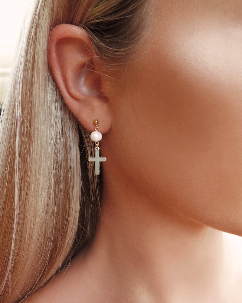 FRESHWATER PEARL CROSS EARRINGS