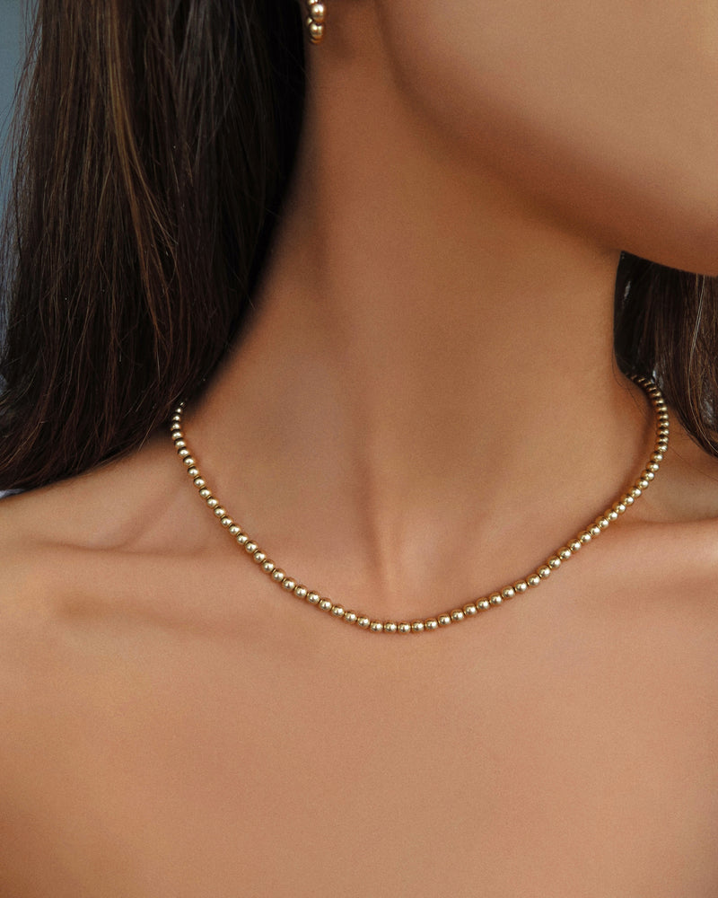 BEADED NECKLACE- 14k Yellow Gold