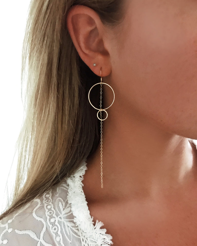 DOUBLE RING CHAIN EARRINGS- 14k Yellow Gold