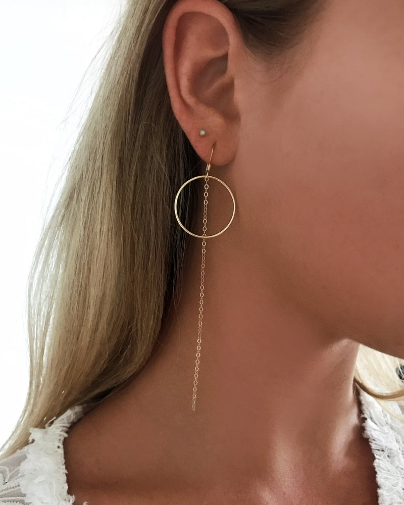 RING CHAIN EARRINGS- 14k Yellow Gold
