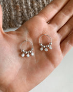 TRIPLE CLEAR CZ HOOP EARRINGS- Sterling Silver