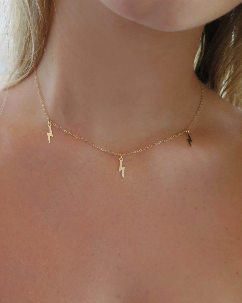 TRIPLE LIGHTNING BOLT NECKLACE