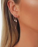 DOUBLE PIERCING FRESHWATER PEARL HOOP EARRINGS