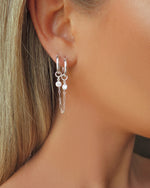 DOUBLE PIERCING CZ HOOP EARRINGS- Sterling Silver