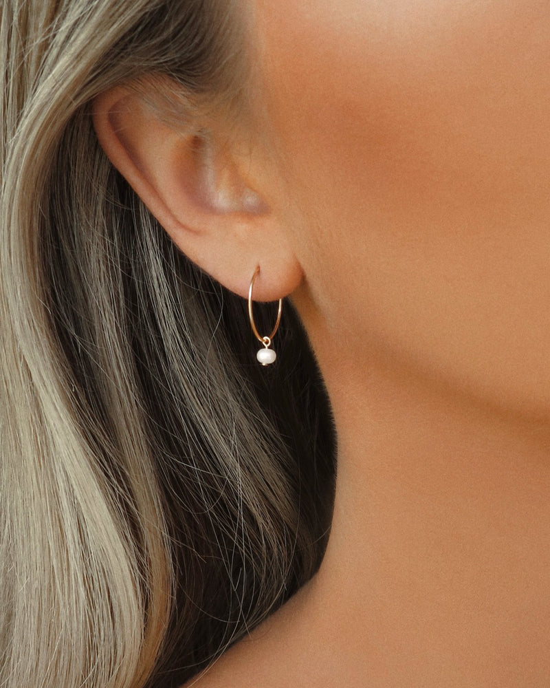 FRESHWATER PEARL HOOP EARRINGS- 14k Gold