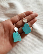 TURQUOISE COIN EARRINGS- Sterling Silver