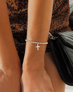 CROSS BEADED BRACELET- Sterling Silver