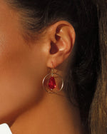 RED TEARDROP CENTRE EARRINGS