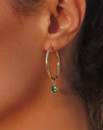 GREEN CZ DROP HOOP EARRINGS