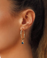 BLUE CZ DROP HOOP EARRINGS- 14k Yellow Gold