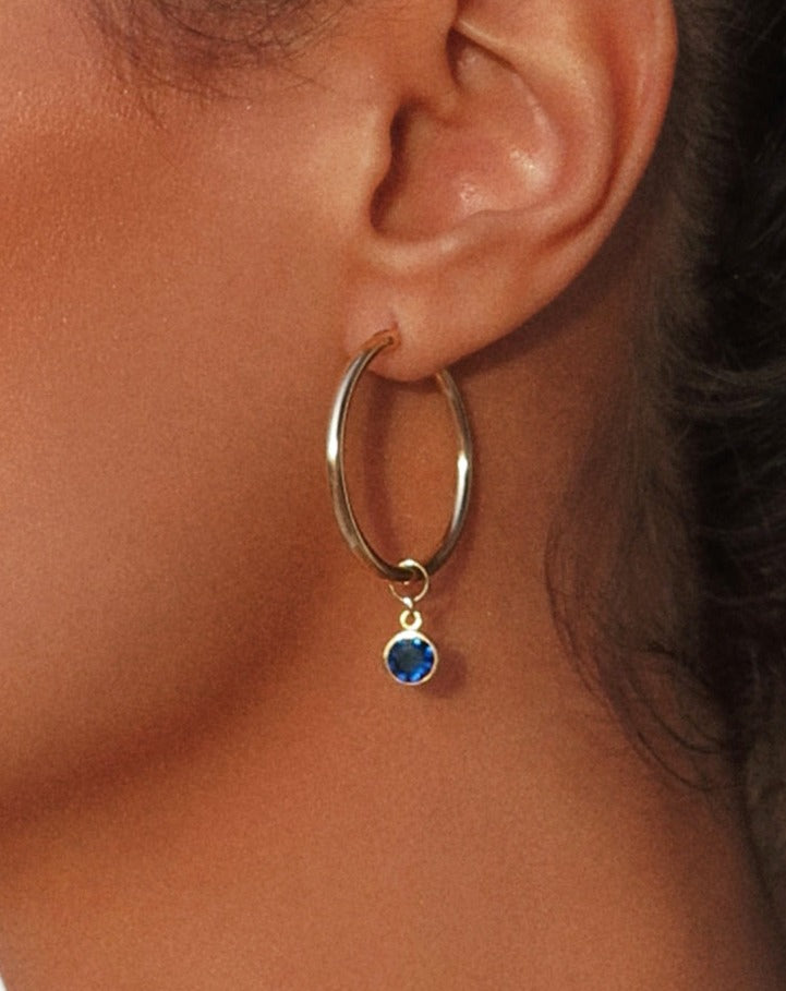 PRE-ORDER: BLUE CZ DROP HOOP EARRINGS- 14k Yellow Gold