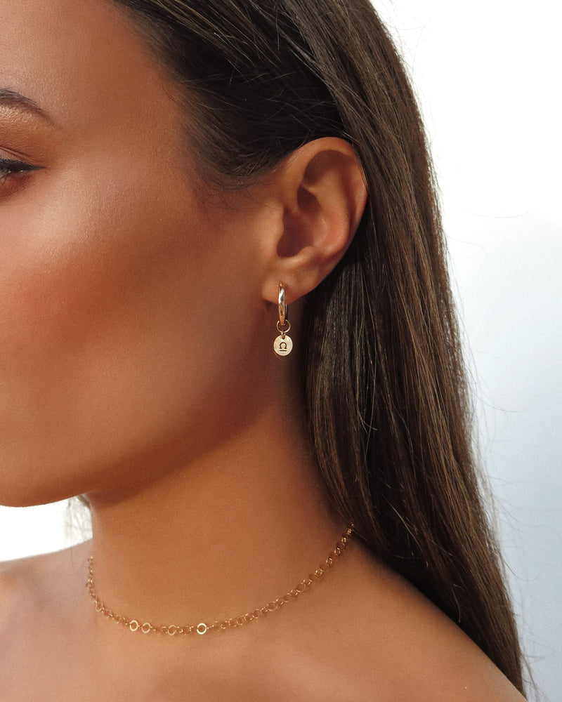 THICK ZODIAC HOOP EARRINGS- 14k Yellow Gold