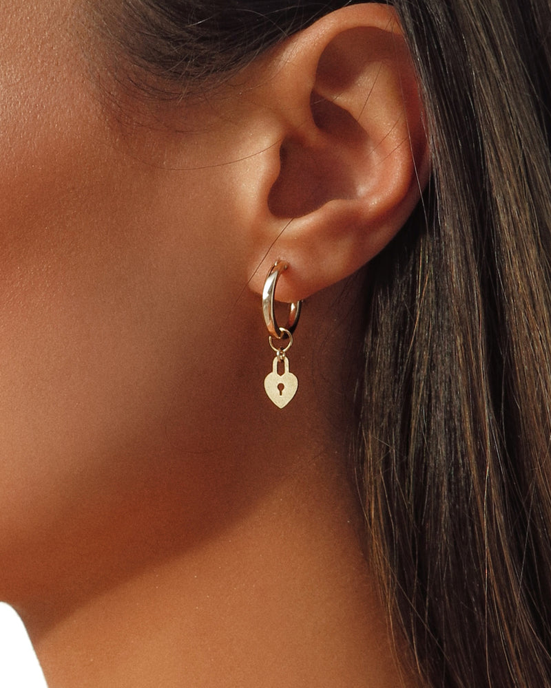 THICK LOVE LOCK HOOP EARRINGS- 14k Yellow Gold