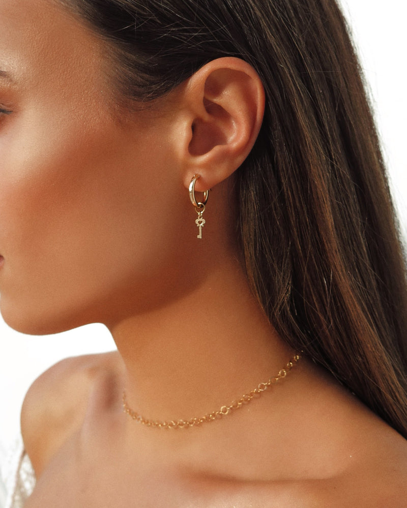 THICK KEY HOOP EARRINGS- 14k Yellow Gold